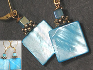 Mother of Pearl Turquoise Blue Earrings