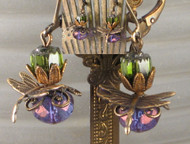 Amethyst & Olive Dragonfly Landings--Antiqued Earrings