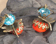 Orange and Turquoise Blue Glass Dragonfly Earrings