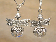 Crystal Clear Silvery Dragonfly Earrings