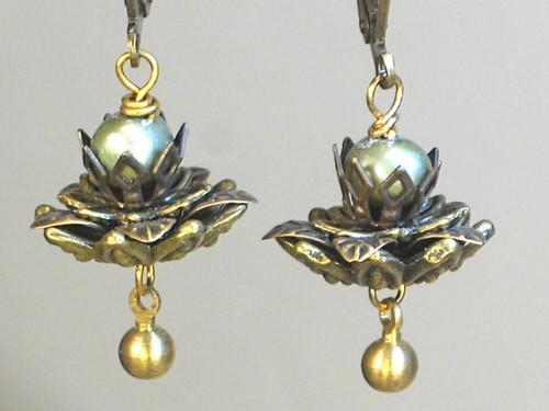 Antiqued Celadon Green Freshwater Pearl Earrings