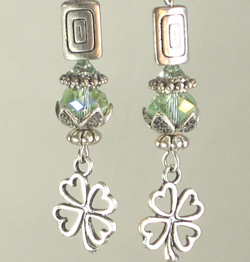 Green and Silvery Clover Irish Shamrock Earrings
