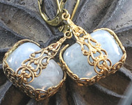 Soft Blue Semi-Precious Agate Filigree Earrings