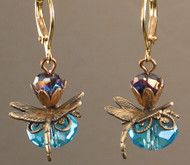 Antique turquoise dragonfly brass earrings