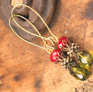 An Olive & Burgundy Twist Earrings