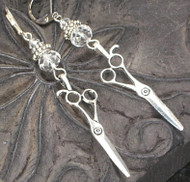 Cutting Edge Silvery Scissors Earrings