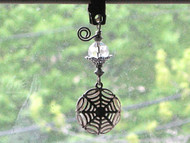 Silvery Victorian Spider Web & Crystal Clear Faceted Glass Shade Pull