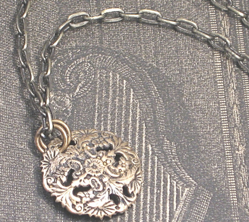 Burnished brass antiqued filigree dome necklace