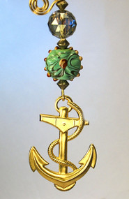 Brass Anchor Green Glass Ceiling Fan Pull
