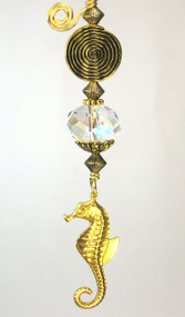 Brass Spiral and Seahorse Ceiling Fan Pull