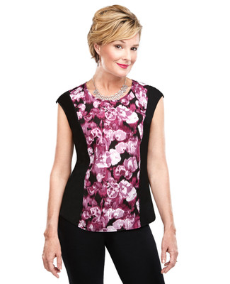 Floral Panel Sleeveless Top