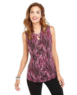 Foldover Abstract Sleeveless Shirt