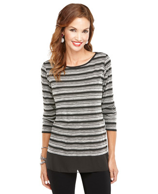 Mixed Media Striped Shirt