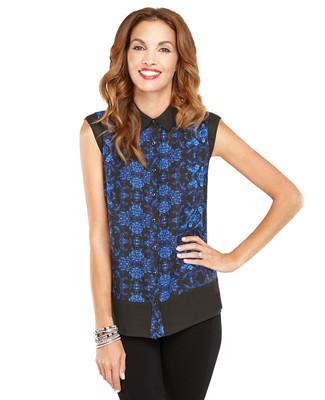 Mixed Sheer Floral Shirt