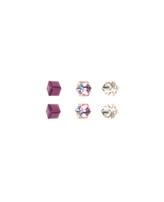 3 Pack Faceted Cube Earrings