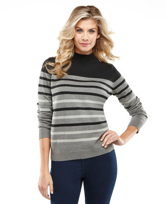 Block Stripe Mockneck Sweater