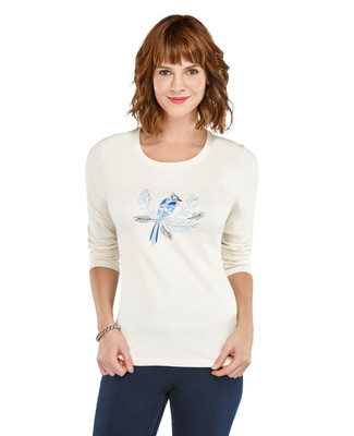 Detailed Blue Jay Crewneck Tee