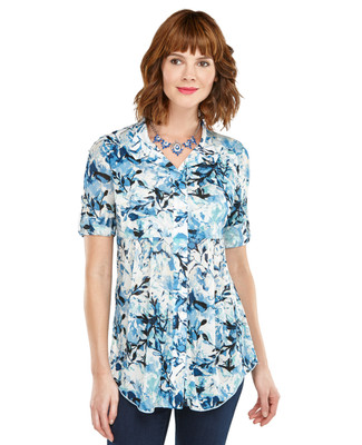 Blurred Floral Tunic Shirt