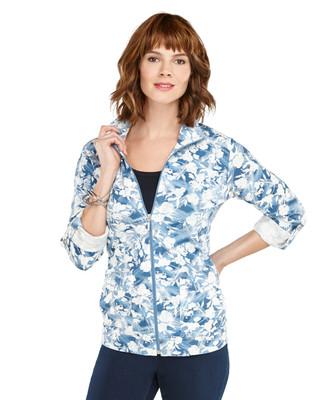 Blurred Floral Knit Cargo Jacket