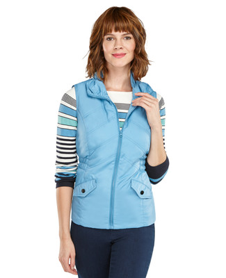 Rouched Neck Quilted Vest