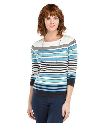 All Over Stripe Crewneck Sweater