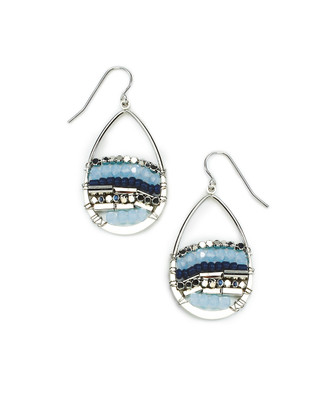 Cutout Teardrop with Beads Earrings