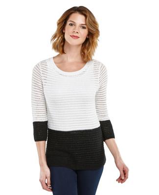 Pointelle Colorblock Sweater