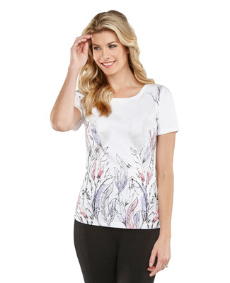 Floral and Feathers Graphic Boatneck