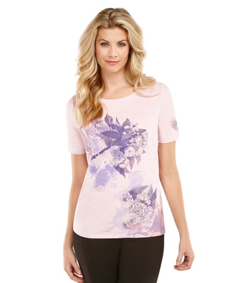 Women's pink charity t-shirt with flower print.