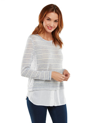 Banded Mix Media Top