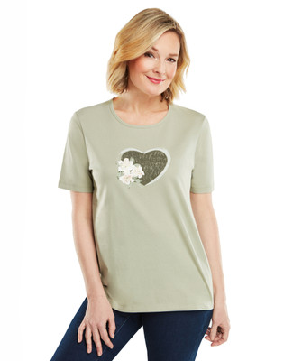 NEW - Distress Floral Heart Classic Graphic Tee