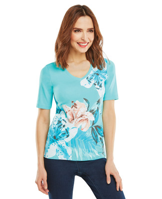 NEW - Floral Fern Graphic V-Neck Tee