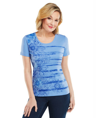 Stamped Leaf Graphic Scoopneck Tee