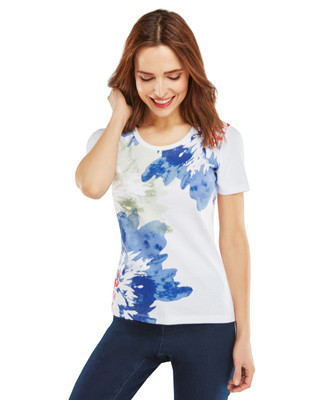 Watercolour Floral Graphic Scoopneck Tee