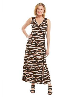 Nina K - Animal Maxi Wrap Dress