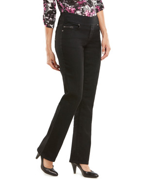 Black Bold Stitch Embroidered Comfort Jean