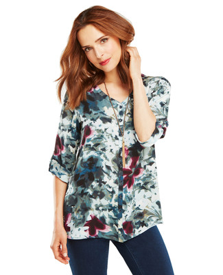 Blurred Floral Y-Neck Blouse