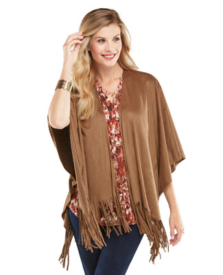 Faux Suede Fringed Wrap
