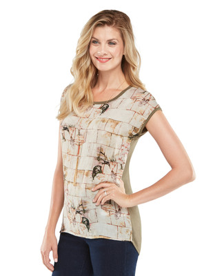 NEW - High-Low Mixed Media Printed Top