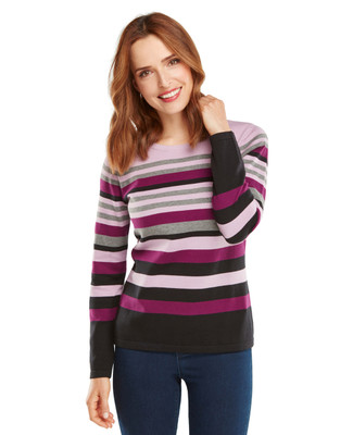 NEW - Berry Stripe Cotton Crewneck Sweater