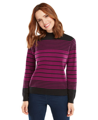 NEW - Berry Stripe Cotton Mockneck Sweater