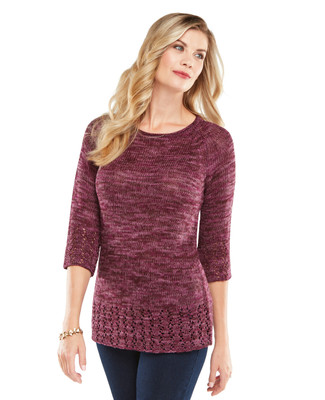NEW - Marled Textured Pointelle Pullover
