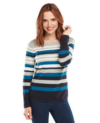 NEW - Petrol Stripe Cotton Crewneck Sweater