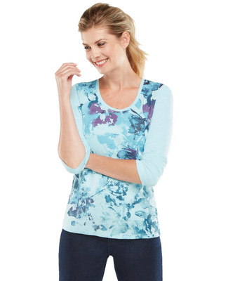 NEW - Long Sleeve Scoopneck Floral Graphic Tee