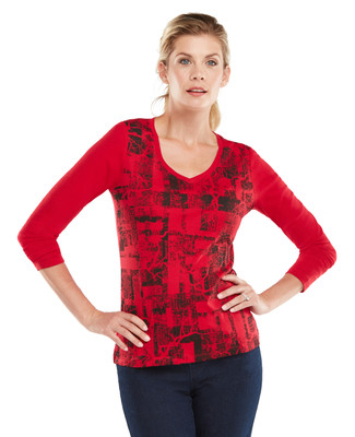 NEW - Long Sleeve V-neck Brushstroke Plaid Graphic Tee