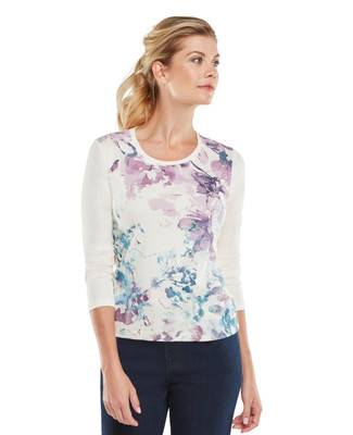 NEW - Petite Long Sleeve Scoopneck Floral Graphic Tee