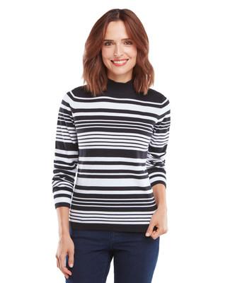 Black Stripe Cotton Mockneck