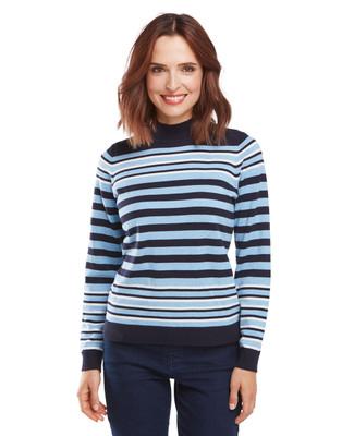 Blue  Stripe Cotton Mockneck
