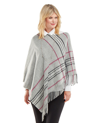 NEW - Plaid Border Poncho