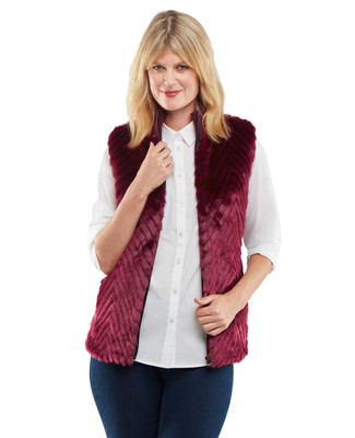 NEW - Chevron Faux Fur Vest